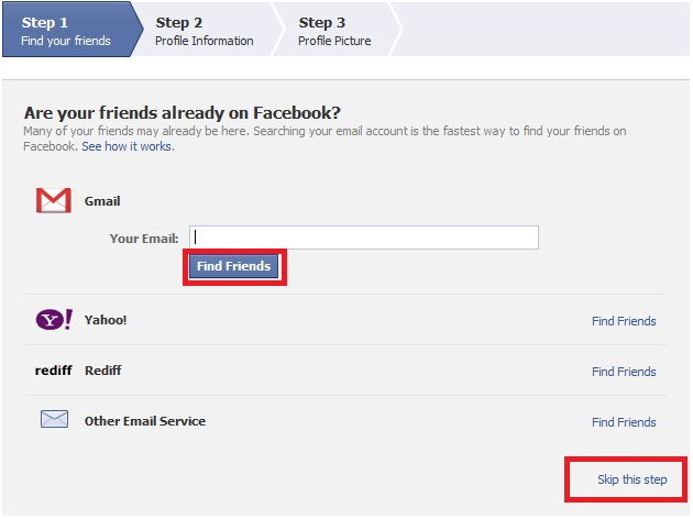 How to Create a New Facebook Account step 3
