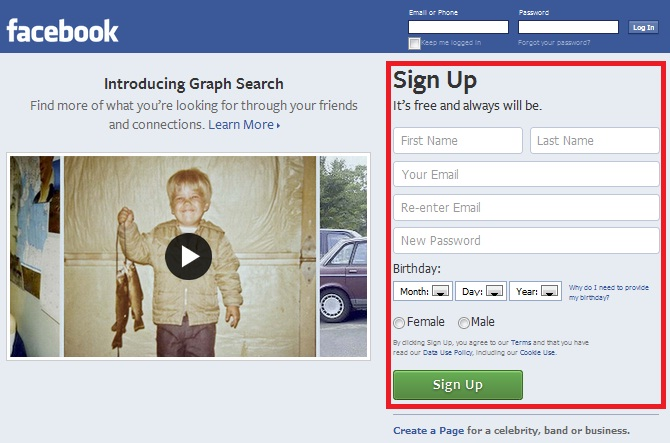 How to Create a New Facebook Account step 2